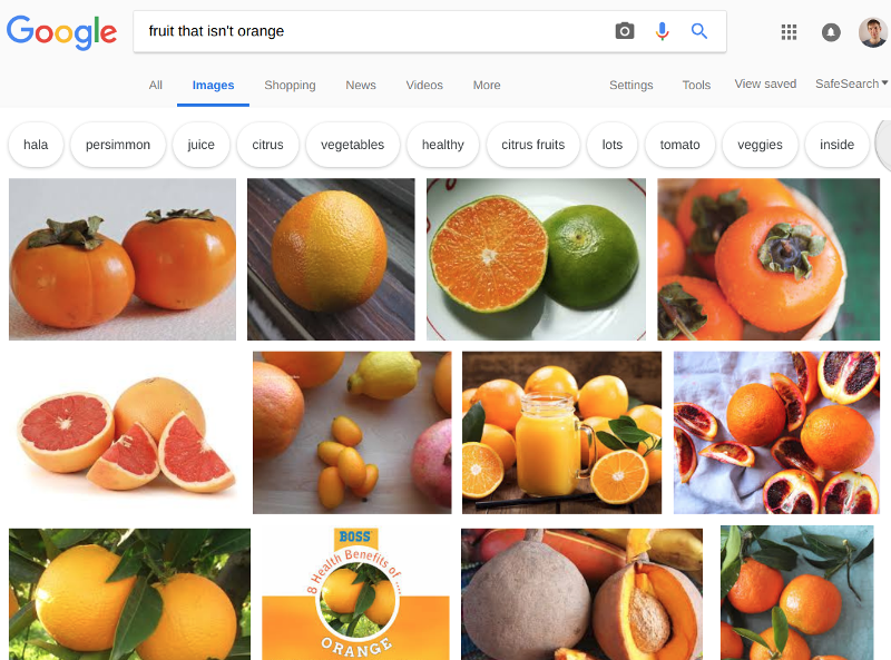 Google image search displaying pictures of oranges