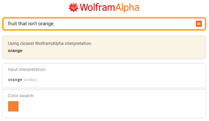 Wolfram image search showing color orange
